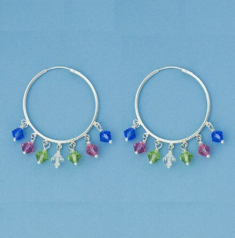 Genuine 925 Sterling Silver 30mm Hoop Earring With Coloured Crystals